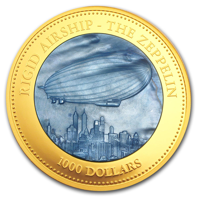 2013 Cook Islands 5 Oz Gold 1000 Mother Of Pearl Zeppelin