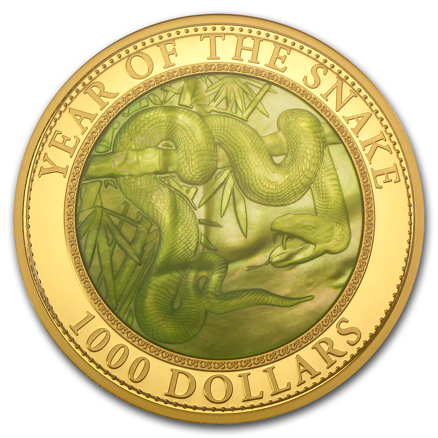 2013 Cook Islands 5 oz Gold Mother of Pearl Year of the Snake