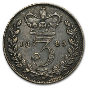 1885 Great Britain Silver 3 Pence Victoria VF+