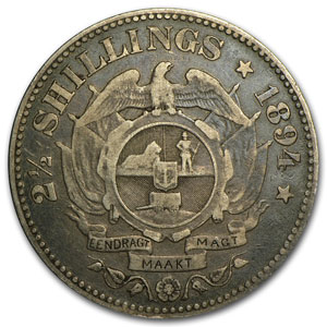 1894 South Africa Silver 2 1/2 Shillings Kruger VF+
