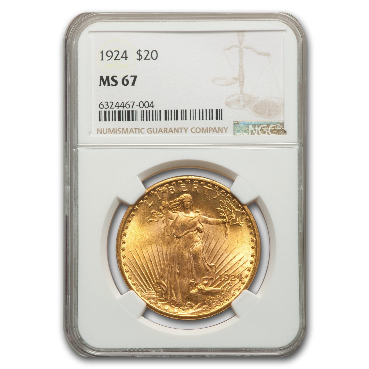 1924 $20 St. Gaudens Gold Double Eagle MS-67 NGC