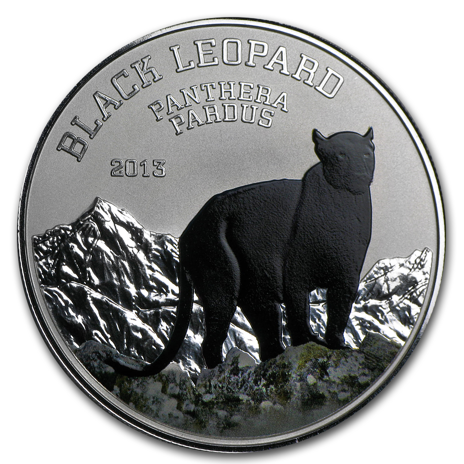 2013 Congo Silver Proof Black Beauties Black Leopard