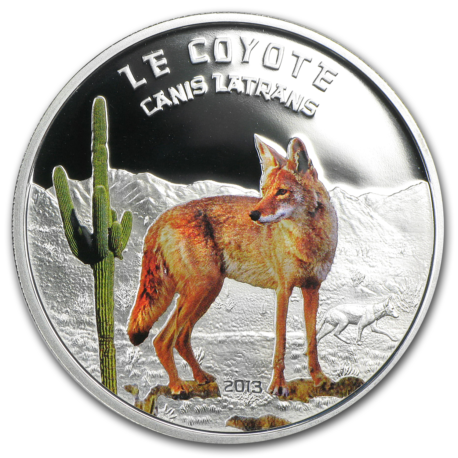 Niger 2013 Proof Silver Predator Hunters (Canis Latrans Coyote)