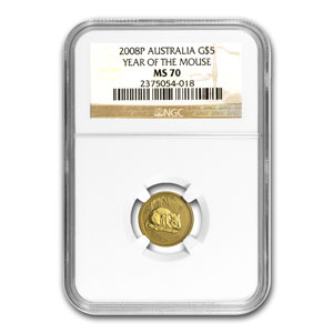 2008 1/20 oz Gold Lunar Year of the Mouse MS-70 NGC (SII)