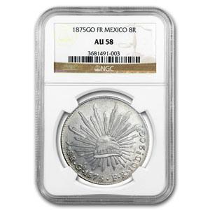 1875 GO FR Mexico Silver 8 Reales AU-58 NGC