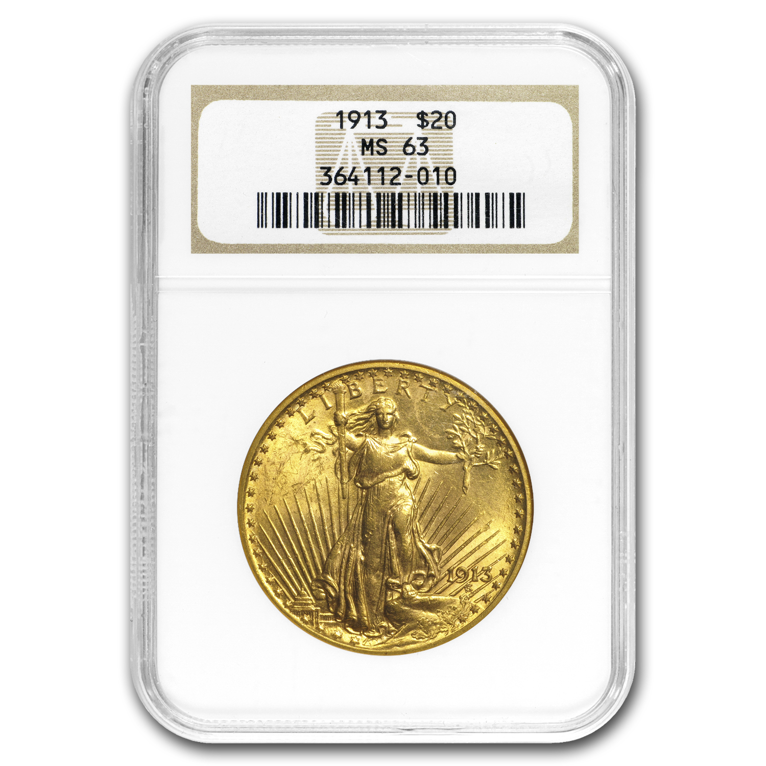 1913 $20 St. Gaudens Gold Double Eagle - MS-63 NGC