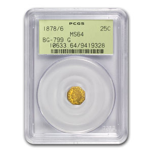 1878/6 BG-799G Indian Octagonal 25 cent Gold MS-64 PCGS