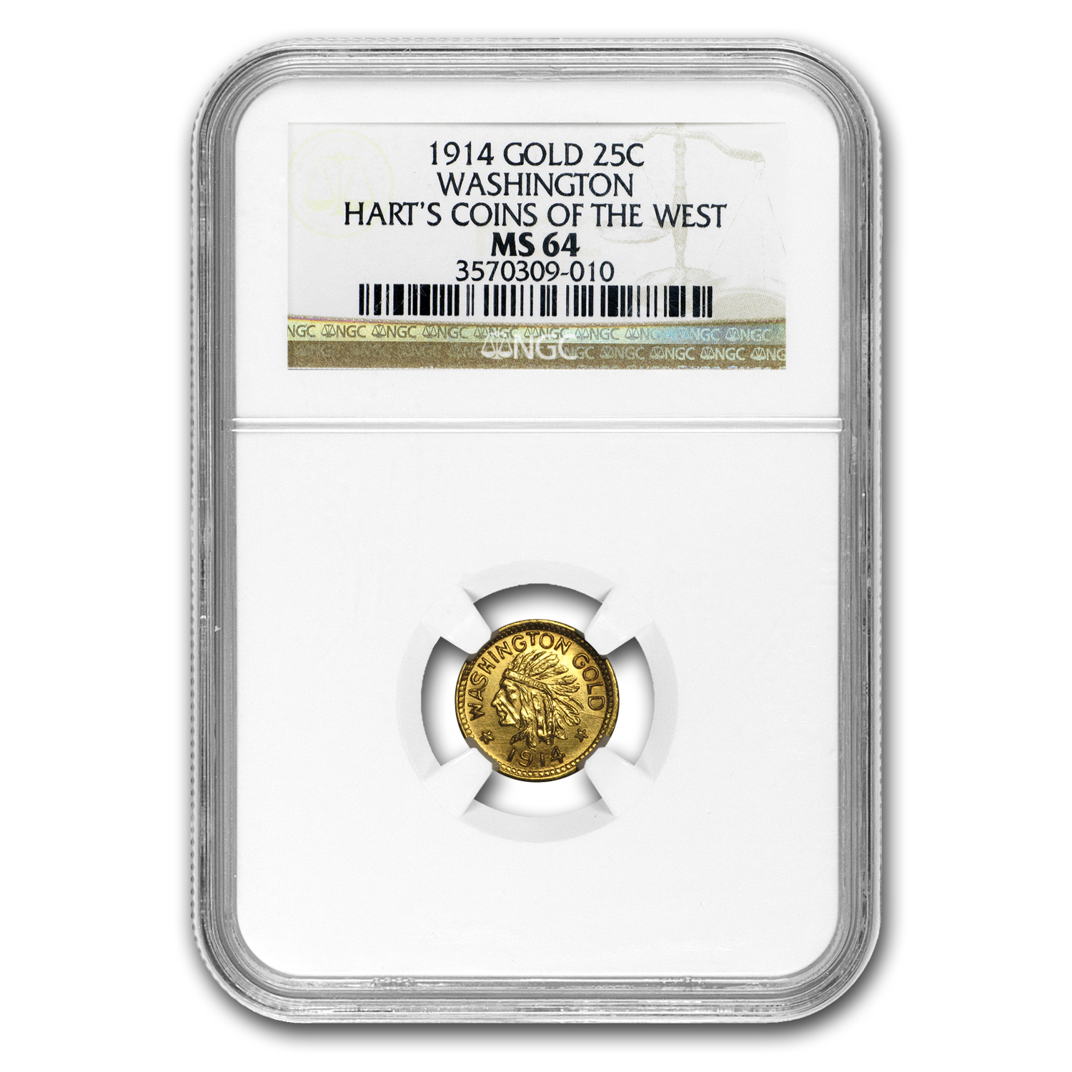 1914 Indian Round Dollar Washington Gold MS-64 NGC