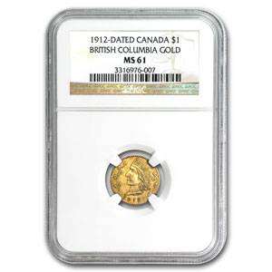 1912 British Columbia Canada 1 Dollar Gold MS-61 NGC