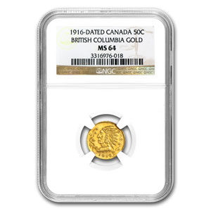 1916 British Columbia Canada 50 Cent Gold MS-64 NGC