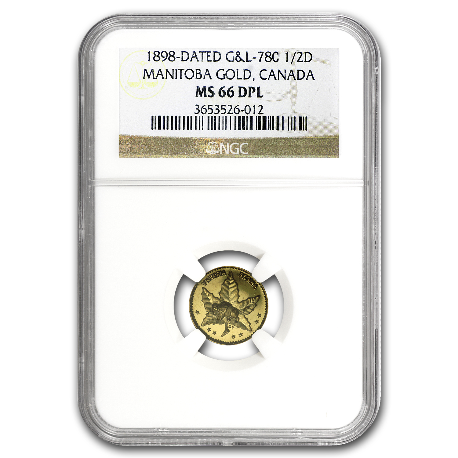 1898 Manitoba Canada 50 Cent Gold MS-66 DPL NGC