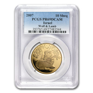 2007 Israel 1/2 oz Proof Gold Wolf & the Lamb PR-69 PCGS