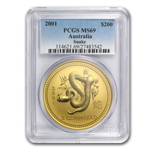 2001 2 oz Gold Year of the Snake Lunar Coin (Series I) PCGS MS-69