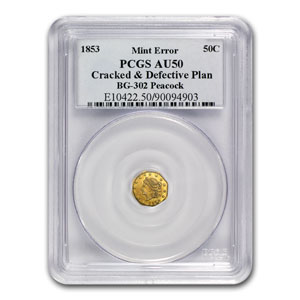 1853 BG-302 Liberty Octagonal 50 Cent Gold AU-50 PCGS (Error)
