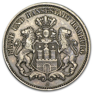 1908-J Hamburg Silver 2 Mark XF