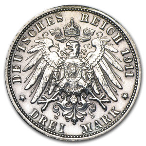 Wurttemberg 1911-F Silver 3 Mark Extra Fine
