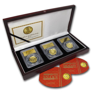 3-Coin Eagle, Dragon & Snake Ultra High Relief Set MS/PR-69