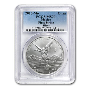 2013 Mexico 1 oz Silver Libertad MS-70 PCGS (First Strike)