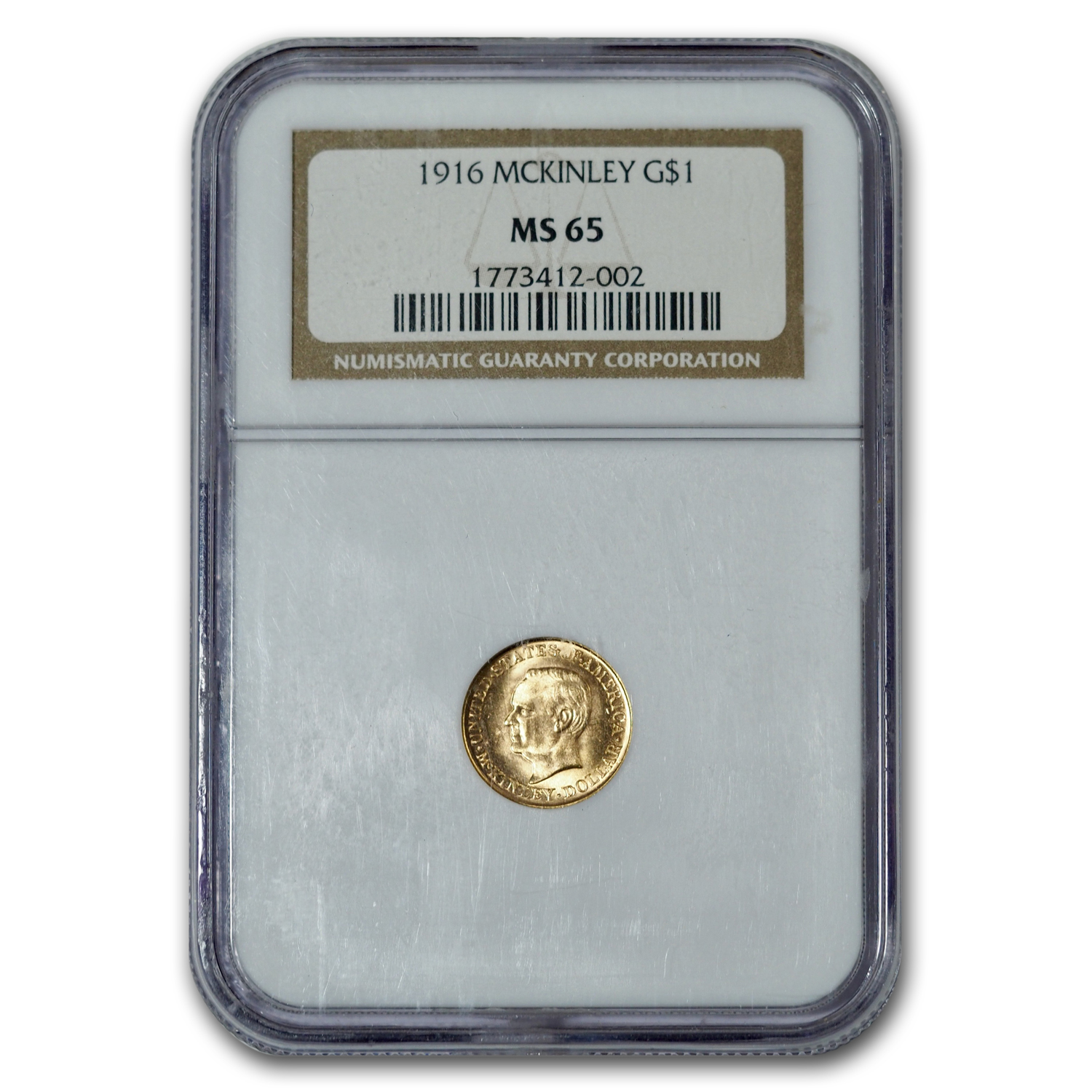 1916 Gold $1.00 McKinley MS-65 NGC