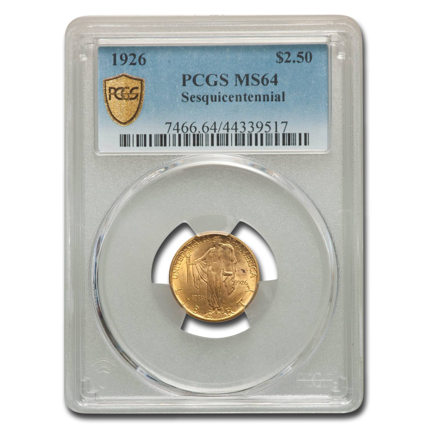 1926 Gold $2.50 America Sesquicentennial MS-64 PCGS (1776-1926)