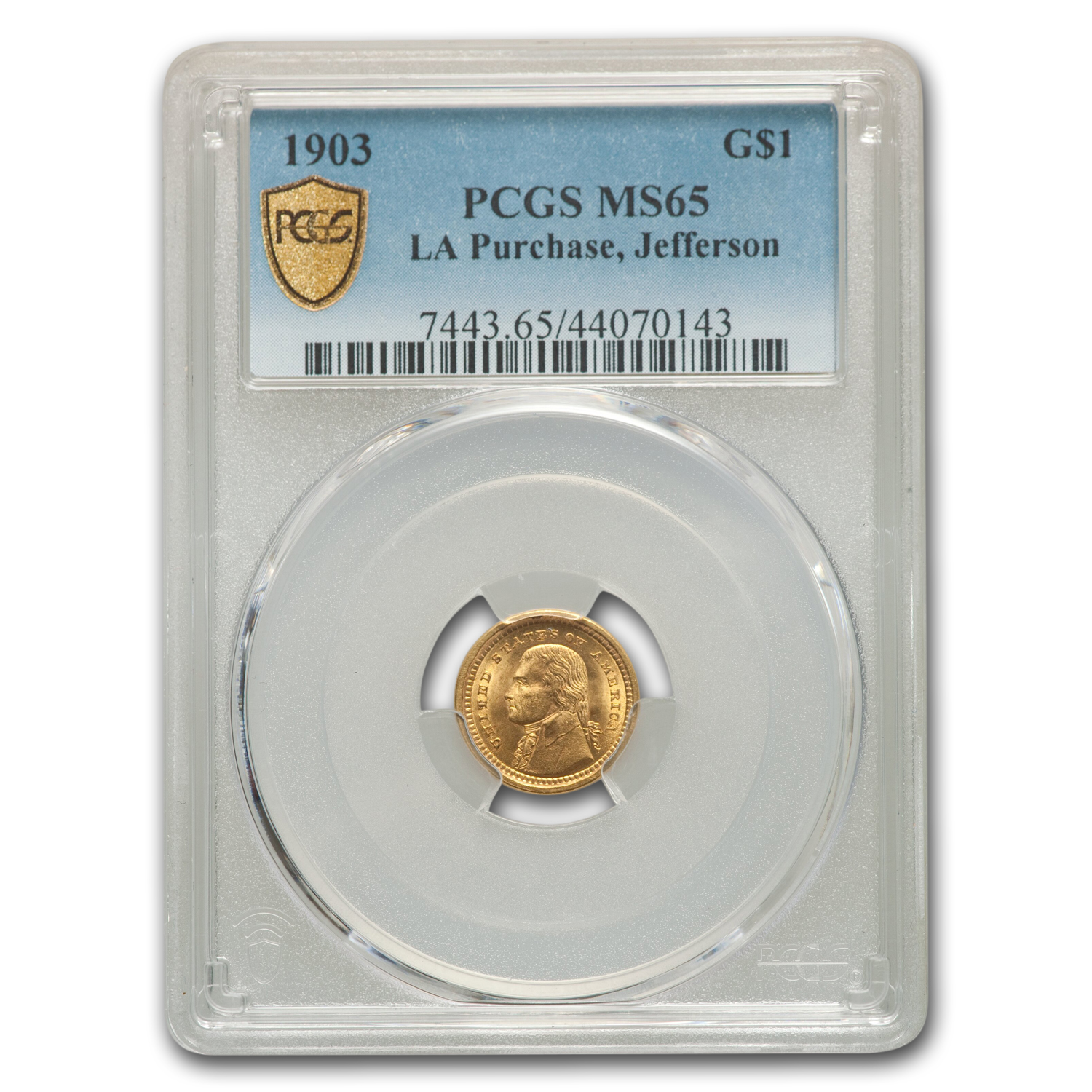 1903 Gold $1.00 Louisiana Purchase Jefferson MS-65 PCGS