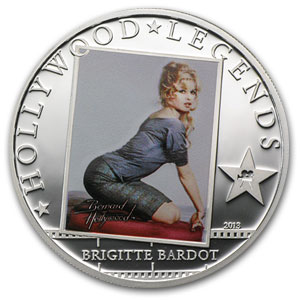 2013 Cook Islands Silver Proof Hollywood Legends Brigitte Bardot