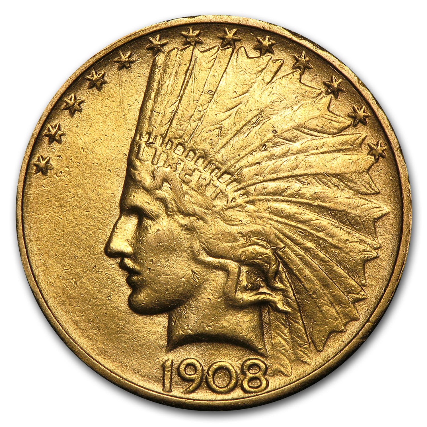 1908-D $10 Indian Gold Eagle No Motto (Cleaned)