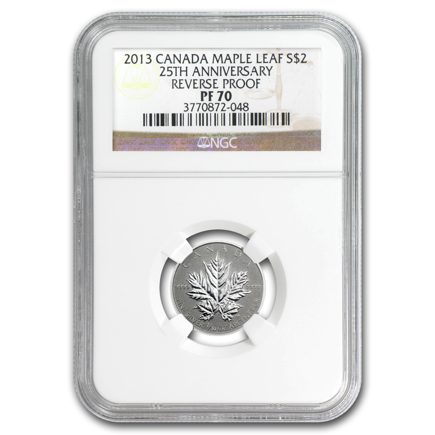 2013 Canada 1/10 oz Silver $2 Maple Leaf 25th Anniv PF-70 NGC