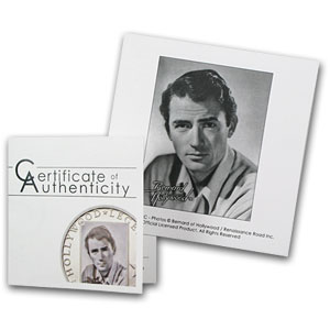 2013 Cook Islands Silver Proof Hollywood Legends Gregory Peck