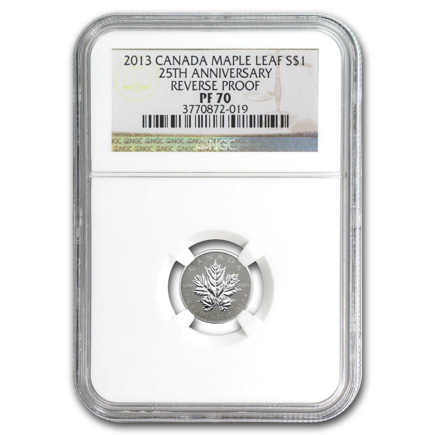 2013 Canada 1/20 oz Silver $1 Maple Leaf 25th Anniv PF-70 NGC