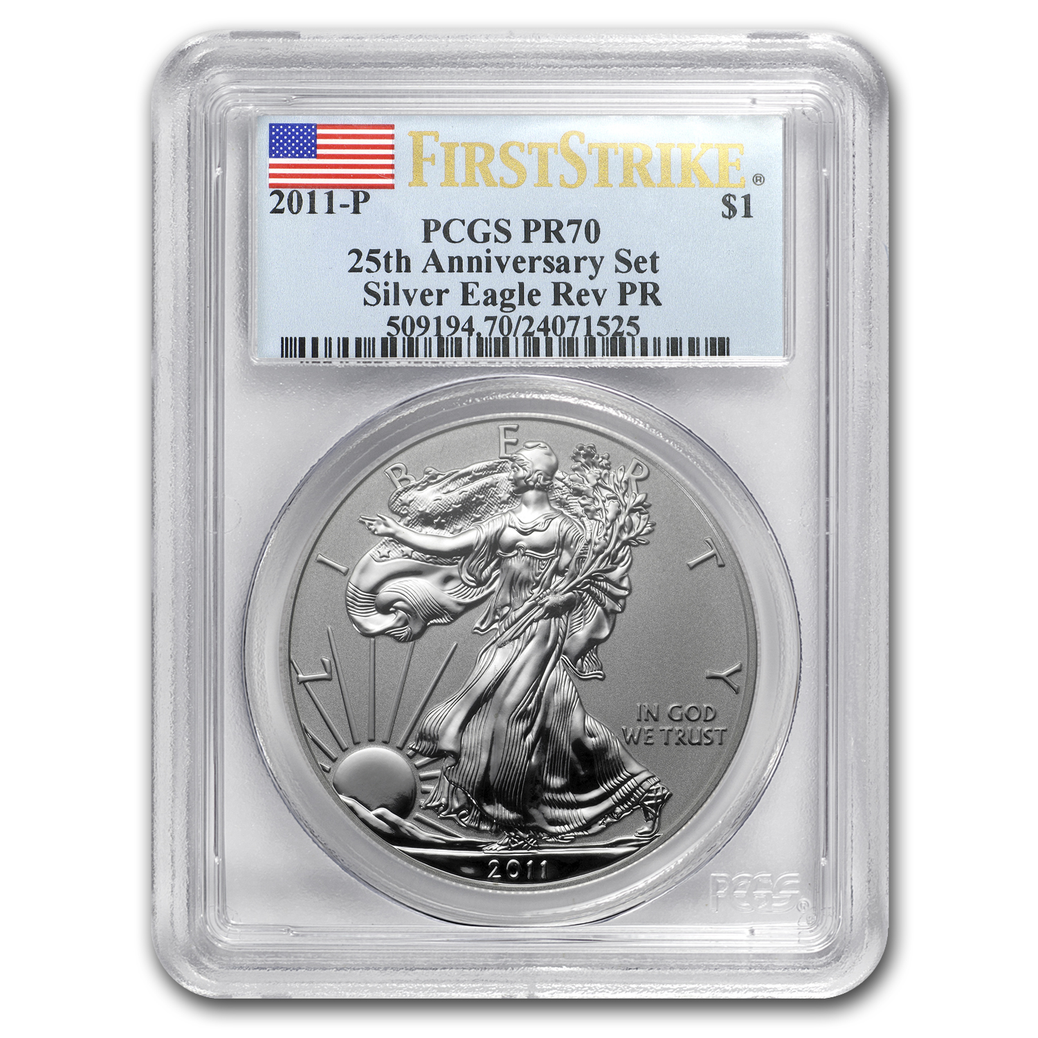 2011-P Reverse Proof Silver Eagle PR-70 PCGS (FS, Blue Label)