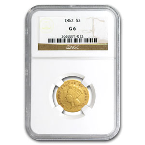 1862 $3 Gold Princess - G-6 NGC