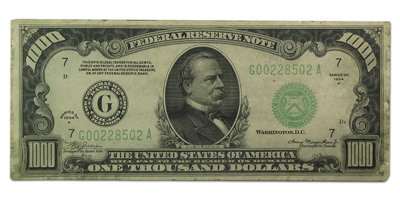 1934-A (G-Chicago) $1,000 FRN AU-50 Net PMG