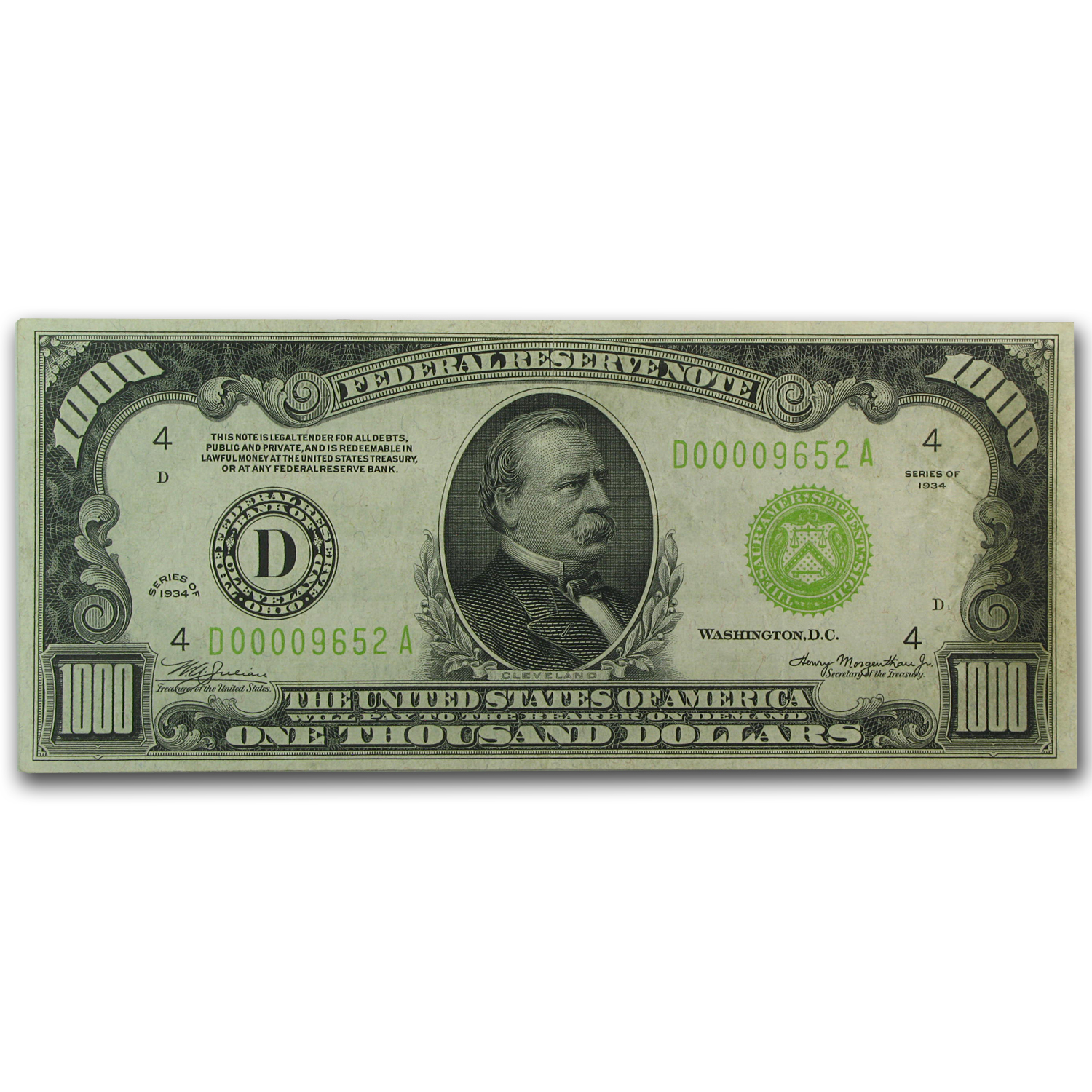 1934 (D-Cleveland) $1,000 FRN (Extra Fine) LGS
