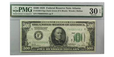 1928 (F-Atlanta) $500 FRN (Dark Seal) - PMG (Very Fine)-30 EPQ