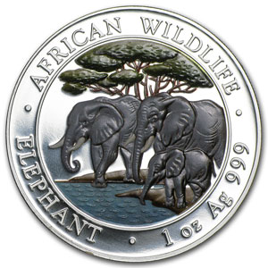 2013 1 oz Silver Somalian African Elephant (Colorized)