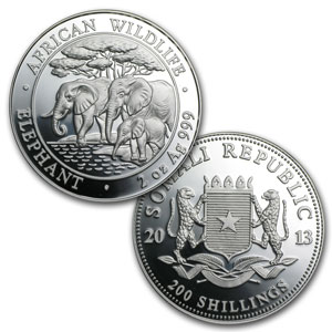 2013 Somalia 4-Coin Silver African Elephant Proof Set