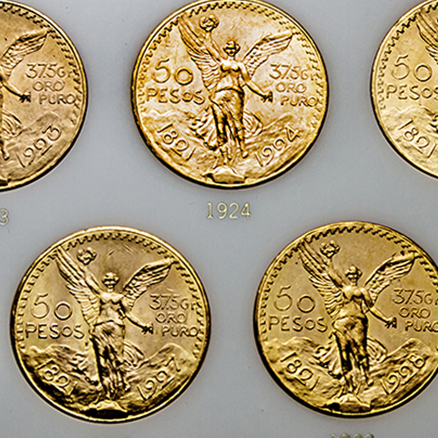 1921-1947 Mexico 16-Coin 50 Pesos Gold Set AU/BU