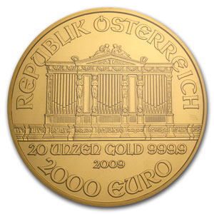 2009 Austria 20 oz Gold Philharmonic MS-69 NGC (20th Ann)