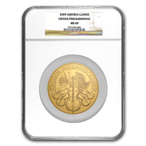2009 20 oz Gold Austrian Philharmonic MS-69 NGC (20th Ann)