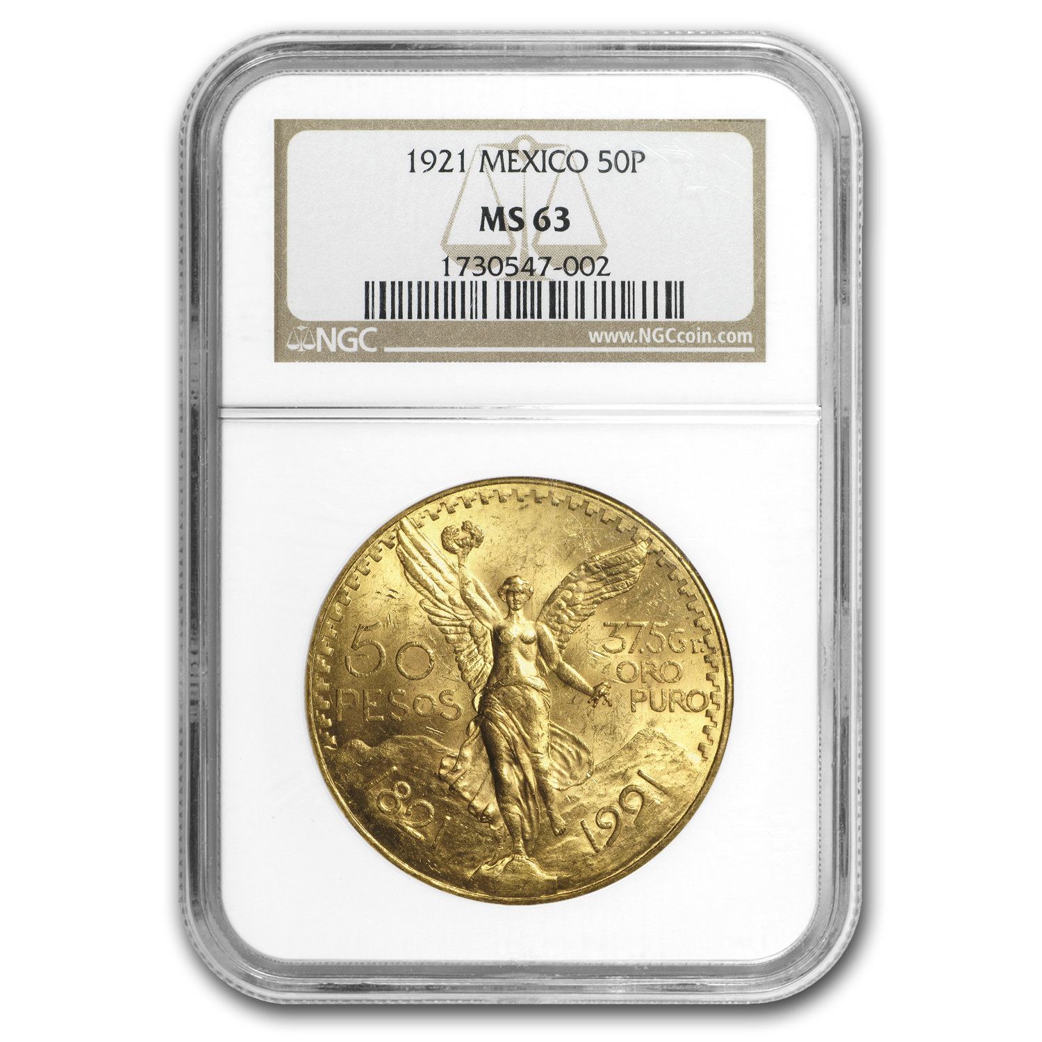 Mexico 1921 50 Pesos Gold MS-63 NGC