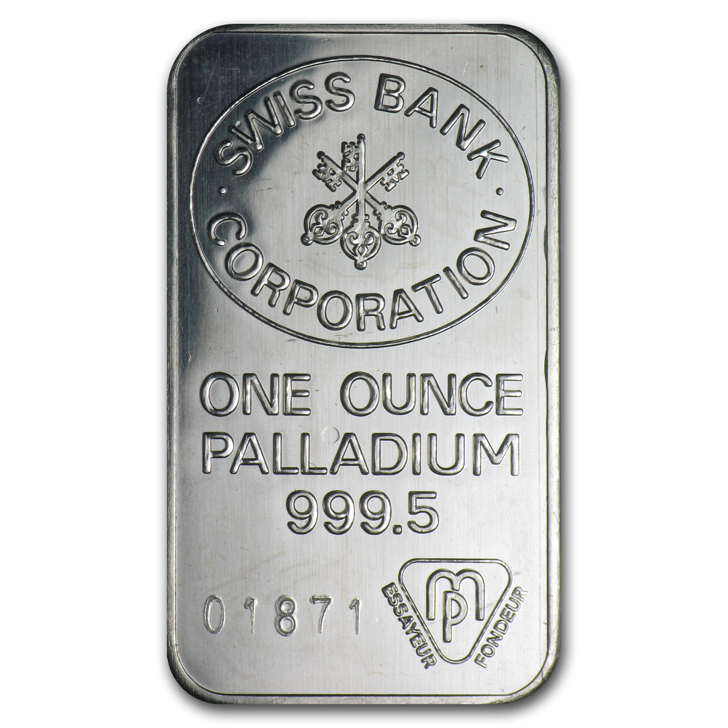 1 oz Swiss Bank Corporation Palladium Bar .9995 Fine
