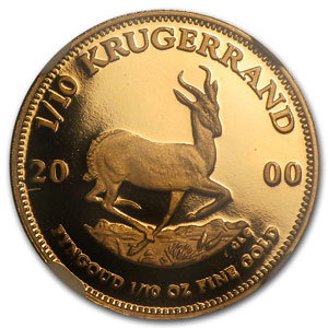 2000 1/10 oz Gold South African Krugerrand PF-69 NGC