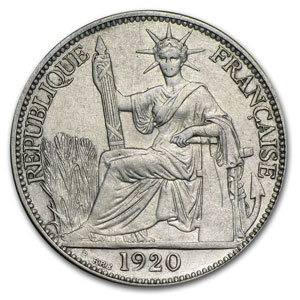 1920-A French Indo-China Silver 20 Cents VF/EF
