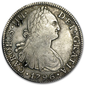 1796 Mexico Silver 8 Reales AU Details (Chopmarks)
