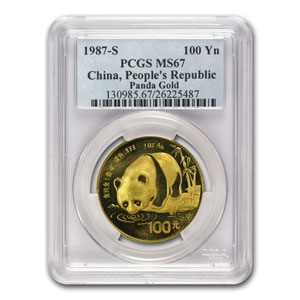 1987-S 1 oz Gold Chinese Panda MS-67 PCGS