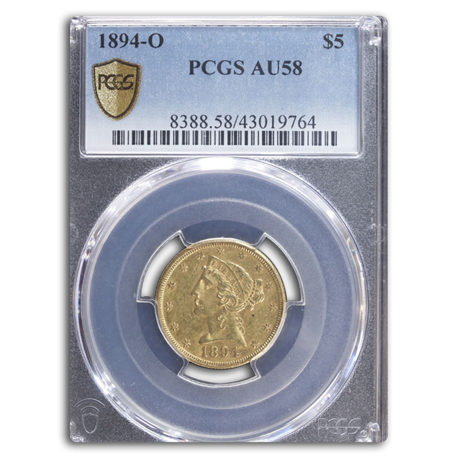 1894-O $5 Liberty Gold Half Eagle - AU-58 PCGS