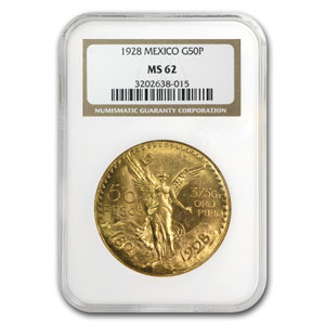Mexico 1928 50 Pesos Gold MS-62 NGC