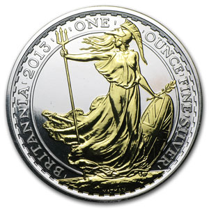 2013 Great Britain 1 oz Silver Britannia BU (Gilded)
