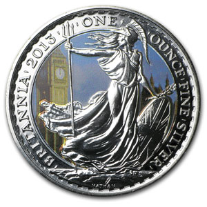 2013 Great Britain 1 oz Silver Britannia BU (Colorized)